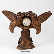 Antique Hand Carved Black Forest Pocket Watch Stand, 2 Birds, Hummingbirds?