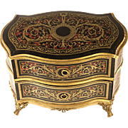 Antique French Chocolatier's Confections Presentation Box, Chocolates, Miniature Boulle Chest of Drawers