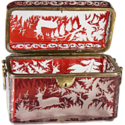 Antique Bohemia Ruby Flash Glass Moser Sugar Casket, LARGE with Stag, Deer Engraved