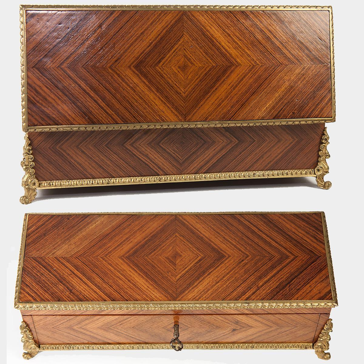 Antique French Kingwood Gloves, Desktop or Jewelry, Documents Box, Casket, Parquet Work