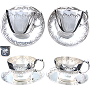 PAIR of Antique French Sterling Silver Full Sized Tea Cup & Saucer Set, 4pc, Rococo Style
