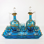 Fine Antique French Liqueur Service, Set, Tray, 2 Decanters and 9 Stem Cordials, Raised Gold Enamel