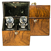 Antique French Tantalus, Burled Wood Chest w 2 Fine Baccarat Decanters, c.1770-1820