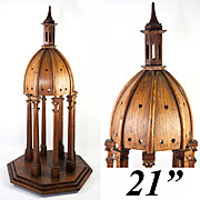 "Antique French Hand Made Chapel Cupola, Dome, Architectural Apprentice Miniature in Wood, 21"" Tall"