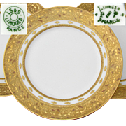 "Gorgeous Antique French Limoges 3pc 10.5"" Dinner Sized Plate Set, Gold Enamel Encrusted Borders"