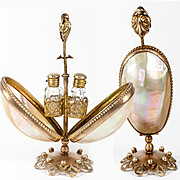 "Antique French Scent Caddy, Perfume Flasks in Mother of Pearl ""egg"" Mechanical Holder, Stand"