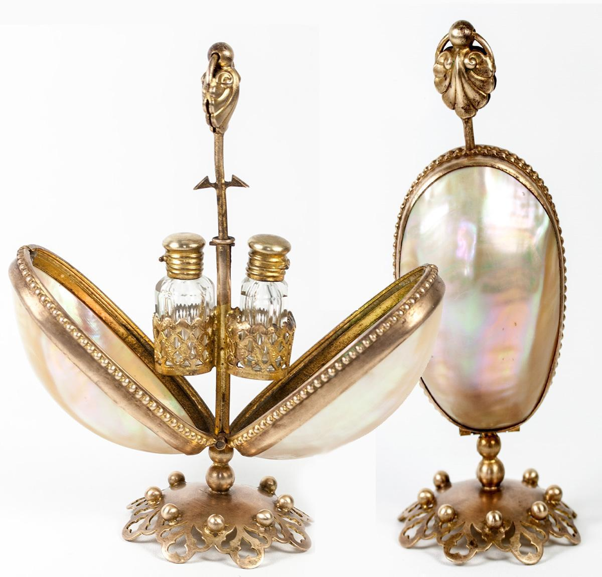 """Antique French Scent Caddy, Perfume Flasks in Mother of Pearl """"egg"""" Mechanical Holder, Stand"""