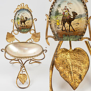 Antique French Mother of Pearl & Ormolu Watch Stand, Trinket Tray with Painted Eglomise Camel