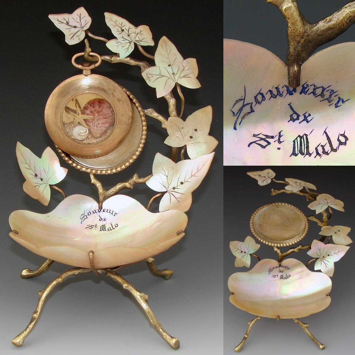 "Superb Antique French Mother of Pearl Pocket Watch Stand, ""Souvenir de St Malo"""