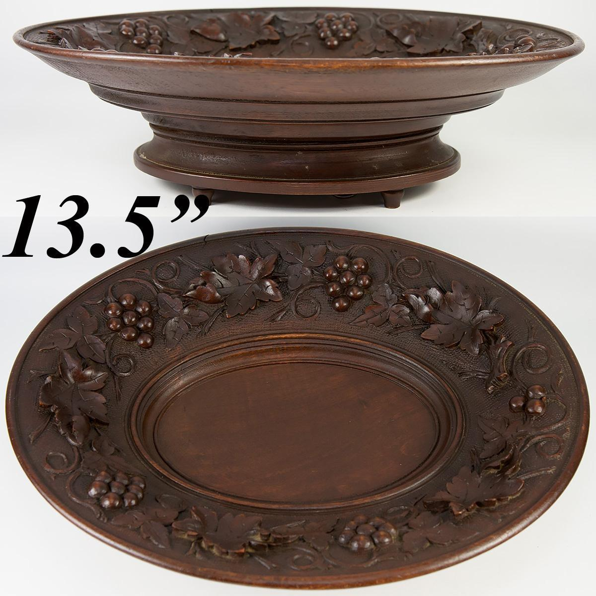 "Antique Hand Carved Black Forest 13.5 x 10.5"" Oval Raised Centerpiece or Fruit Tray, Music Box"