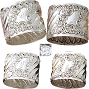PAIR Antique French Sterling Silver Napkin Rings, Ornate Louis XVI or Rococo Spiraled Pattern