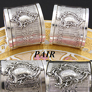 """PAIR of Ornate Antique French PUIFORCAT Sterling Silver Napkin Rings, """"Desiree"""" & """"Leon"""" Inscriptions"""