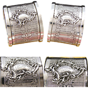 "PAIR of Ornate Antique French PUIFORCAT Sterling Silver Napkin Rings, ""Desiree"" & ""Leon"" Inscriptions"