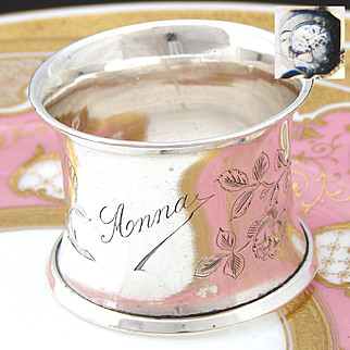 """Lovely Antique French Sterling Silver Napkin Ring, """"Anna"""", Engraved BIRD & Foliage"""
