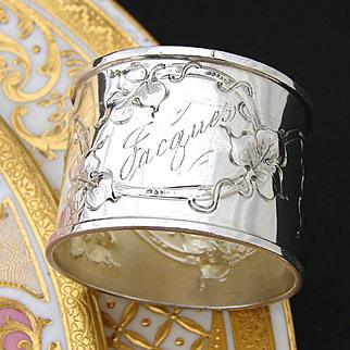 "Antique American Sterling Silver Napkin Ring, Art Nouveau Style, ""Jacques"" Inscription"
