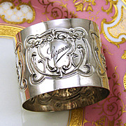 "Antique French Sterling Silver Napkin Ring, Ornate Classical Style with ""Suzanne"" Inscription"