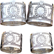 PAIR Antique French Sterling Silver Napkin Rings, Elegant Classical or French Empire Style