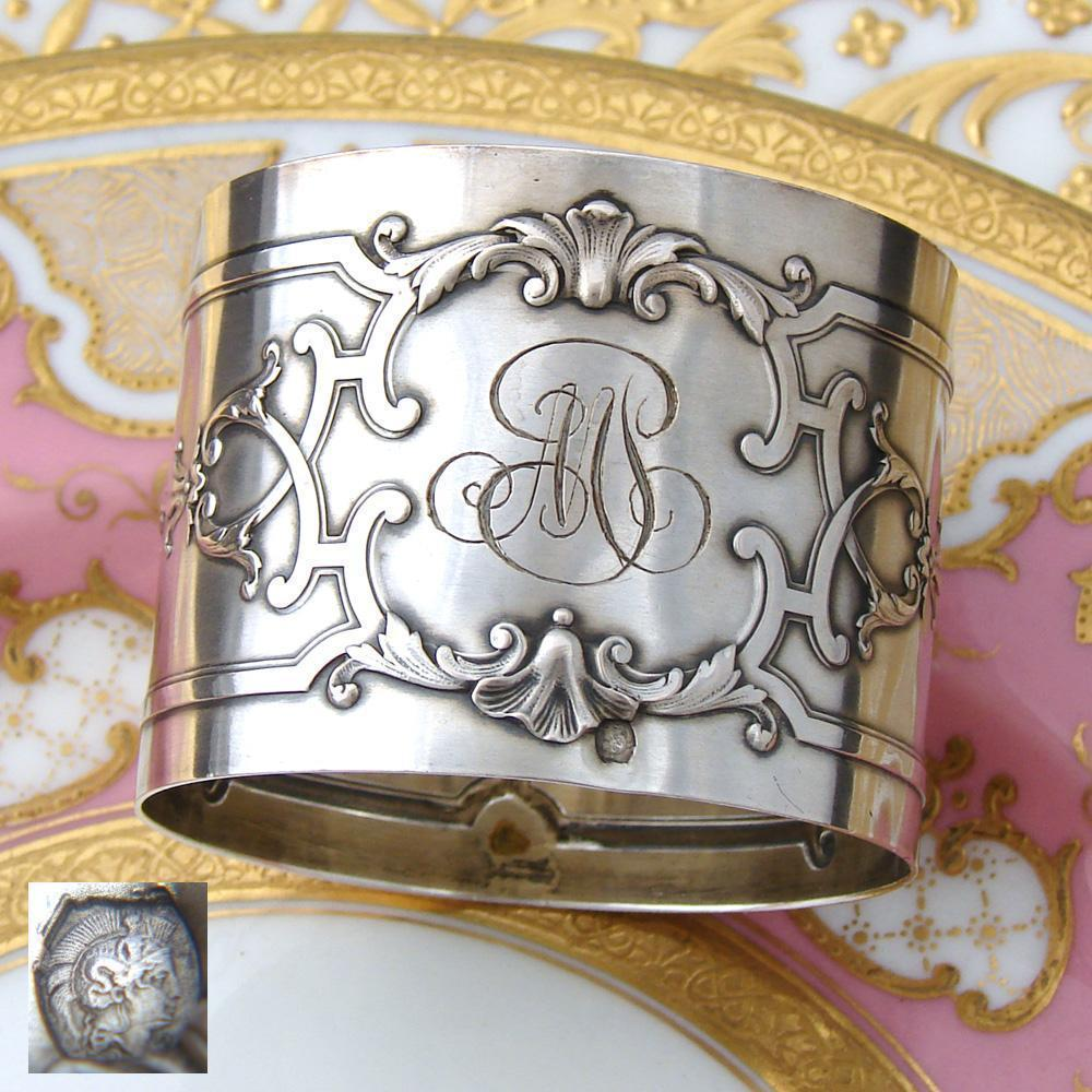 "Elegant Antique French .800 (nearly sterling) Silver Napkin Ring, Ornate, ""MP"" Monogram"