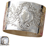 "Ornate Antique French Sterling Silver Napkin Ring, Rococo Style, ""LM"" Monogram"