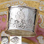 "Lovely Vintage French .800 (nearly sterling) Silver Napkin Ring, Ornate, ""SF"" Monogram"