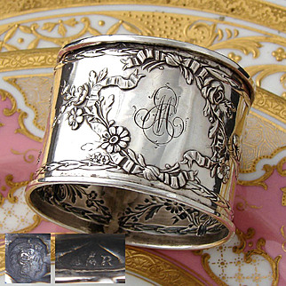 Gorgeous Antique French Sterling Silver Napkin Ring: Ornate Bow, Ribbon & Floral