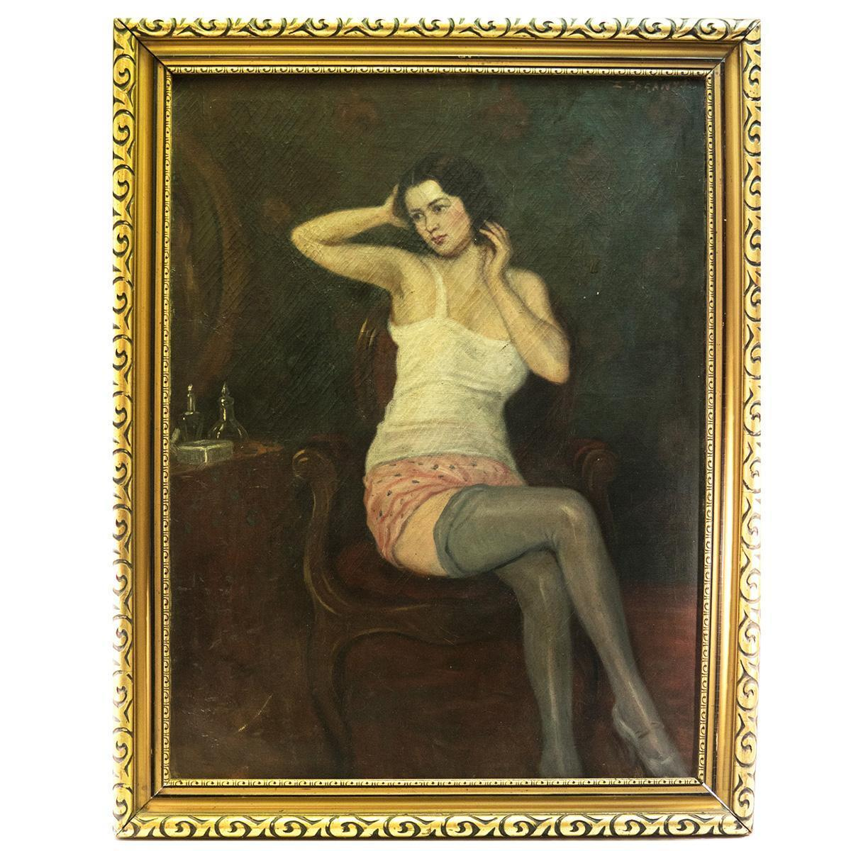 "Antique French Oil Painting, Portrait of a Woman in Dressing Room, Impressionist Interior. Frame, 36"" x 28.25"""