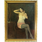 """Antique French Oil Painting, Portrait of a Woman in Dressing Room, Impressionist Interior. Frame, 36"""" x 28.25"""""""
