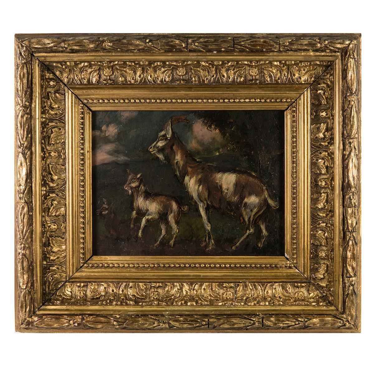Antique French Oil Painting in Fontainebleau School Frame, Nanny and Kid Goat