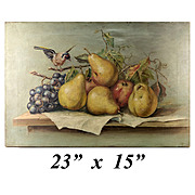 "Antique French Oil Painting, Still Life of Fruit with Bird, Ready to Frame: 22"" x 15"""