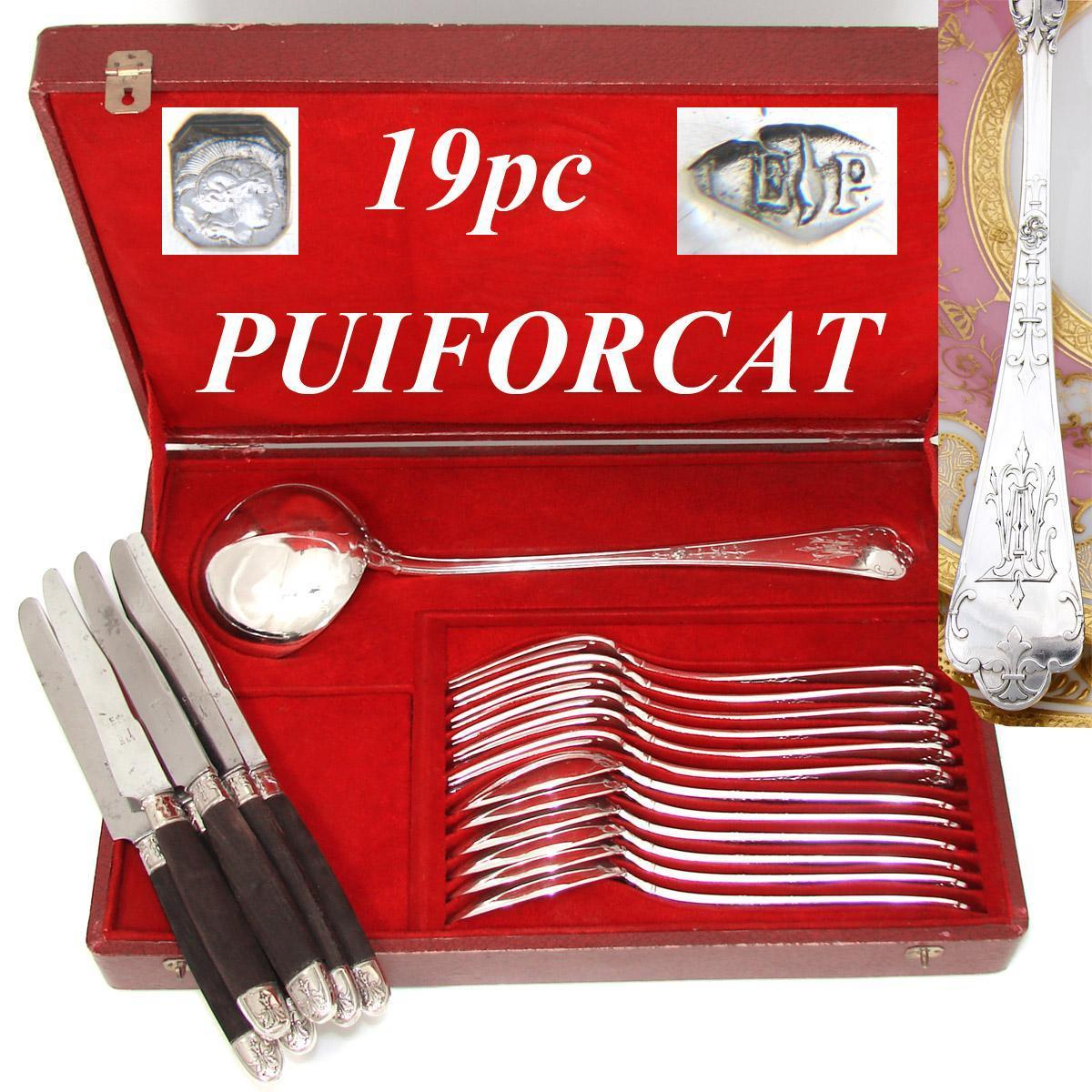 "Antique French PUIFORCAT Sterling Silver 18pc Dinner Flatware Set, Gothic Pattern, 13"" Ladle, Orig. Box"