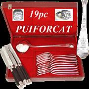 "Antique French PUIFORCAT Sterling Silver 18pc Dinner Flatware Set, Gothic Pattern, 13"" Ladle, Orig. Box"