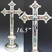 "RARE LG Antique Italian 16.5"" Micro Mosaic Altar Style Crucifix, Dove, Chalice or Holy Grail"