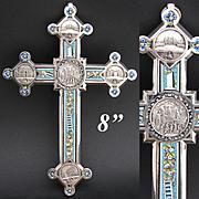 "Lg Antique Italian Grand Tour Era Micro Mosaic 8.25"" Crucifix, Souvenir Architectural Medallions"