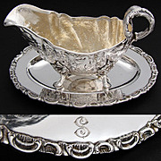 Gorgeous Antique Continental .800 (nearly sterling) Silver Saucier or Gravy Boat, Highly Ornate