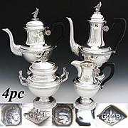 Rare Antique French Sterling Silver 4pc Coffee & Tea Set, 2 Pots, Sugar & Creamer: SWAN Finials!