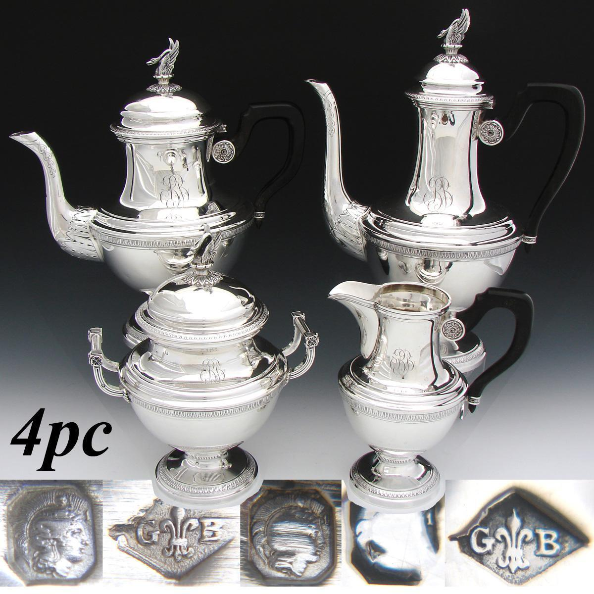 Rare Antique French Sterling Silver 4pc Coffee & Tea Set, 2 Pots, Sugar & Creamer: Empire SWAN Finials!
