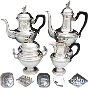 Rare Antique French Sterling Silver 4pc Coffee & Tea Set, 2 Pots, Sugar & Creamer: SWAN Finials!