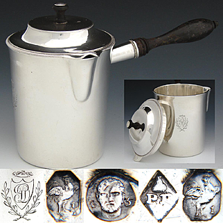 RARE Antique French Napoleon I Era Sterling Silver Verseuse, Side Handled 10oz. Coffee, Cream or Chocolate Pot