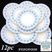 "Lovely Vintage Wedgwood 12pc 9.5"" Dinner Plate Set, Wellesley Blue & White Pattern, 1934 Patent Mark"