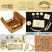Rare Antique Asprey of London Leather Travel Vanity Case, 14-18k Gold Vermeil on Sterling Silver 9pc Contents