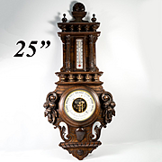 """Antique Black Forest Carved Wood 25"""" Cased Aneroid Barometer, Thermometer w Fruit"""