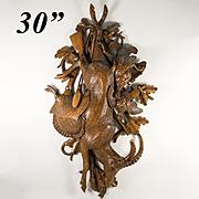 """Spectacular HUGE 30"""" Antique Black Forest Fruits of the Hunt Plaque, Gun, Goat, Massive Hand Carved in Wood"""