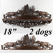 """Antique Black Forest Hand Carved Pipe or Spoon Rack, 18"""", 2 Dogs, Hounds and a Hare"""