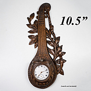 Antique Hand Carved French or Black Forest Pocket Watch Stand, Holder, Musical Lute