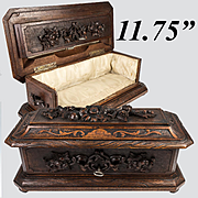 """Antique HC Black Forest 12"""" Glove, Document, Jewelry Box, Casket with Flowers, Lock and Key"""