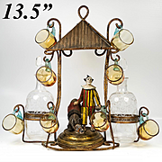 RARE Antique French Liqueur Service, Stand is a Clown, Pierrot and Donkey, Napoleon III c.1850