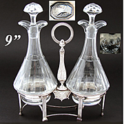 Antique French Sterling Silver Oil & Vinegar Cruet Stand, 1809-1819 Marks, Marked St. Louis Decanters
