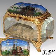 """Antique French Eglomise Paris Souvenir Casket, Box: """"Entree Principale Exposition 1900"""""""