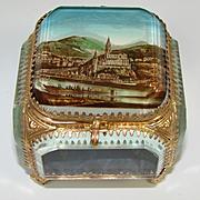 Antique French Eglomise Souvenir Beveled Glass Jewel Casket, Box: Lourdes Pilgrimage