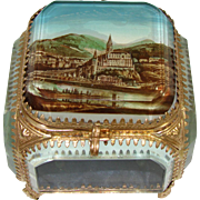 Antique French Eglomise Souvenir Beveled Glass Jewel Casket, Box: Lourdes Pilgrimage